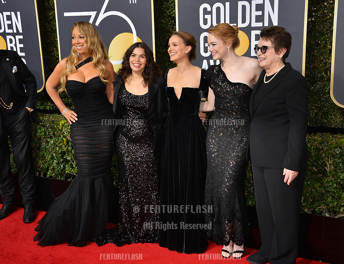 Mariah Carey, America Ferrera, Natalie Portman, Emma Stone & Billie Jean King at the 75th Annual Golden Globe Awards at the Beverly Hilton Hotel, Beverly Hills, USA 07 Jan. 2018<br /> Picture: Paul Smith/Featureflash/SilverHub 0208 004 5359 sales@silverhubmedia.com