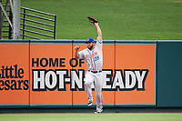 St. Lucie Mets left fielder Wuilmer Becerra (28) catches a fly ball during the first game of a doubleheader against the Lakeland Flying Tigers on June 10, 2017 at Joker Marchant Stadium in Lakeland, Florida.  Lakeland defeated St. Lucie 6-5 in fourteen innings.  (Mike Janes/Four Seam Images)