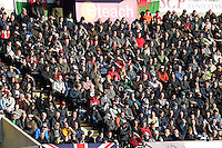 SWANSEA, WALES - FEBRUARY 07: Swansea supporters watch the Premier League match between Swansea City and Sunderland AFC at Liberty Stadium on February 7, 2015 in Swansea, Wales.