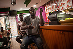 Football fans from Senegal watch their national team's Russia 2018 World Cup Group H match against Colombia. Irun (Basque Country). June 24, 2018. (Gari Garaialde / BostokPhoto)