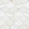 Mermaid Scales, a stone waterjet mosaic, show in polished Calacatta Gold.