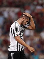 Calcio, Serie A: Roma vs Juventus. Roma, stadio Olimpico, 30 agosto 2015.<br /> Juventus&rsquo; Alvaro Morata reacts at the end of the Italian Serie A football match between Roma and Juventus at Rome's Olympic stadium, 30 August 2015. Roma won 2-1.<br /> UPDATE IMAGES PRESS/Isabella Bonotto