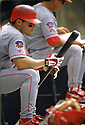 CIRCA 1997: Ivan Rodriguez #7 of the Texas Rangers portrait during a game from his 1997 season with the Texas Rangers. Ivan Rodriguez played for 21 years, with 6 different team, was a 14-time All-Star, American League MVP in 1999 and was inducted to the Baseball Hal of Fame in 2017.(Photo by: 1997 SportPics)  *** Local Caption *** Ivan Rodriguez
