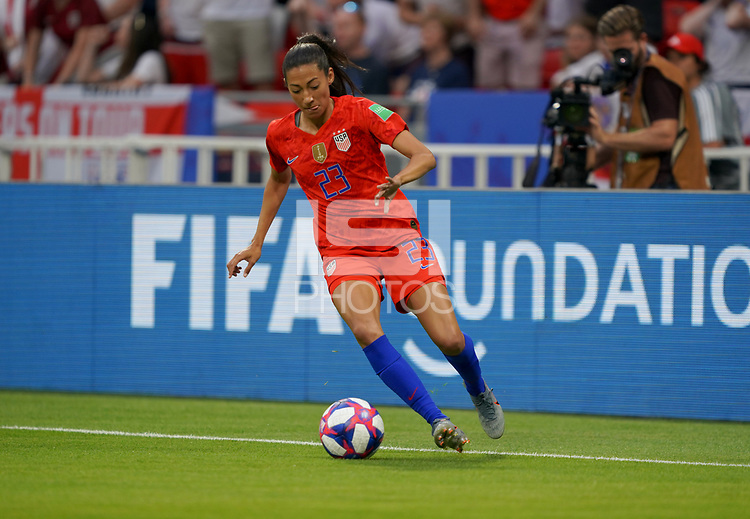 DECINES-CHARPIEU, FRANCE - JULY 02: Christen Press #23 during a 2019 FIFA Women's World Cup France Semi-Final match between England and the United States at Groupama Stadium on July 02, 2019 in Decines-Charpieu, France.