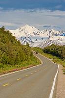 Car travels through the Alaska Range mountains on the Richardson Highway, Interior, Alaska.