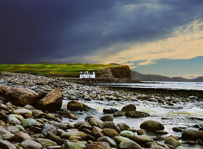 Isolated cottage on the west coast of Kerry, Ireland.