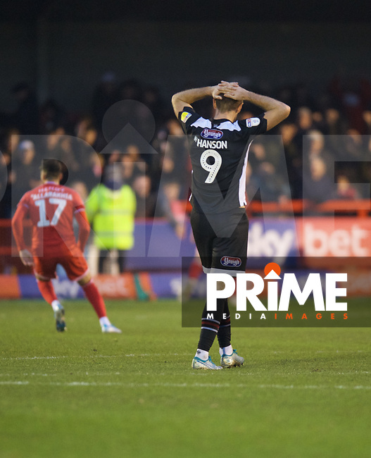 James Hanson of Grimsby Town looks dejected after conceding a goal during the Sky Bet League 2 match between Crawley Town and Grimsby Town at The People's Pension Stadium, Crawley, England on 25 January 2020. Photo by Alan  Stanford / PRiME Media Images.