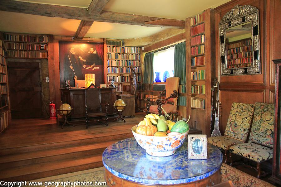 Inside the library room at Sissinghurst castle gardens, Kent, England, UK