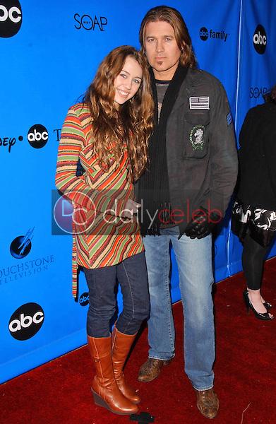 "Miley Cyrus and Billy Ray Cyrus<br />at the Disney - ABC Television Group ""All Star Party"". Ritz-Carlton Huntington Hotel, Pasadena, CA. 01-14-07<br />Dave Edwards/DailyCeleb.com 818-249-4998"