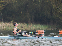 Caversham. Berkshire. UK<br /> Melissa WILSON, competing in the Women's Singel Scull Time Trial at the  2016 GBRowing U23 Trials at the GBRowing Training base near Reading, Berkshire.<br /> <br /> Monday  11/04/2016 <br /> <br /> [Mandatory Credit; Peter SPURRIER/Intersport-images]