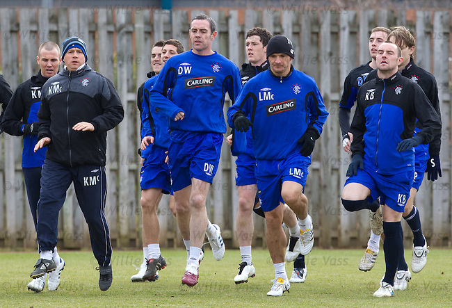 Kenny McDowall taking the training this morning