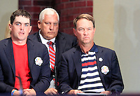 USA Team Members Keegan Bradley and Captain Davis Love III on stage at the Closing Ceremony after Sunday's Singles Matches of the 39th Ryder Cup at Medinah Country Club, Chicago, Illinois 30th September 2012 (Photo Colum Watts/www.golffile.ie)