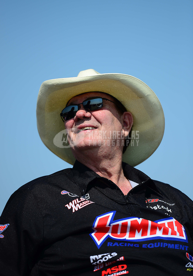 Sept. 22, 2012; Ennis, TX, USA: NHRA Ken Black, team owner of pro stock drivers Greg Anderson, Jason Line and Ronnie Humphrey during qualifying for the Fall Nationals at the Texas Motorplex. Mandatory Credit: Mark J. Rebilas-