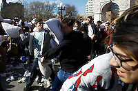 People take part in the pillow fight at Washington Square in New York. 04.04.2015. Eduardo MunozAlvarez/VIEWpress.