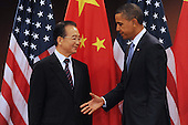United States President Barack Obama, right, shakes hands with Premier of China Wen Jiabao, left, during their bilateral meeting at UN headquarters in New York, New York, USA, Thursday, 23 September 2010.  The meeting between President Obama and Premier Wen takes place on the sidelines of the 65th session of UN General Assembly (UNGA).   .Credit: Michael Reynolds - Pool via CNP