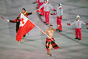 9th February 2018, Pyeongchang, South Korea; 2018 Winter Olympic Games; PyeongChang Olympic Stadium; Cross Country skier Pita Taufatofua leading the national team during the Opening ceremony carrying flag of Tonga