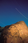 Star trails over the rock art, Grimes Point, Nevada, along U.S. 50