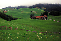 Switzerland, Appenzell, Europe, Scenic view of the hilly green grassland surrounding the farms of Appenzell.