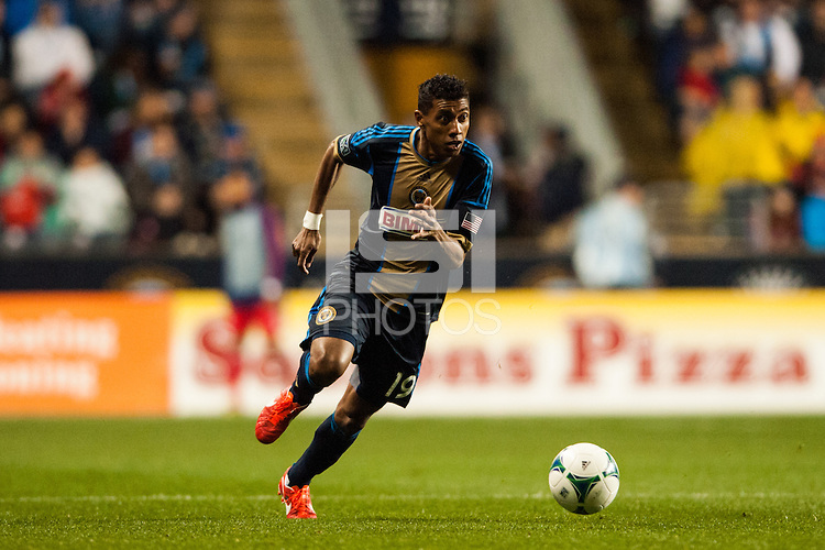 Jose Kleberson (19) of the Philadelphia Union. The Philadelphia Union defeated the Chicago Fire 1-0 during a Major League Soccer (MLS) match at PPL Park in Chester, PA, on May 18, 2013.