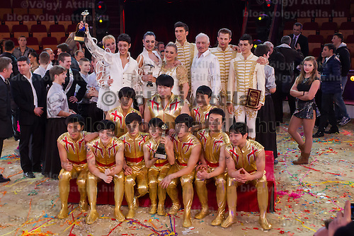 Winners of the Golden Pierrot award pose together during the 10th International Circus Festival in Budapest, Hungary on January 13, 2014. ATTILA VOLGYI