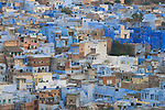 Overview over Jodhpur's Blue City (old town); The blue houses were originally for Brahmins but non-Brahmins soon joined in, as the colour was said to deflect the heat and keep mosquitoes away, Jodphur, Rajasthan, India