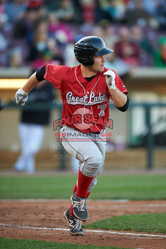 Great Lakes Loons catcher Brant Whiting (7) runs to first during a game against the Dayton Dragons on May 21, 2015 at Fifth Third Field in Dayton, Ohio.  Great Lakes defeated Dayton 4-3.  (Mike Janes/Four Seam Images)