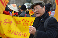 March 5, 2012  (Washington, DC)  A man gives a passionate speech during a rally in which hundreds of Vietnamese and Vietnamese-American protesters gathered in front of the White House in Washington.  They protested alleged human right abuses by the communist government of Vietnam against its own people. (Photo by Don Baxter/Media Images International)