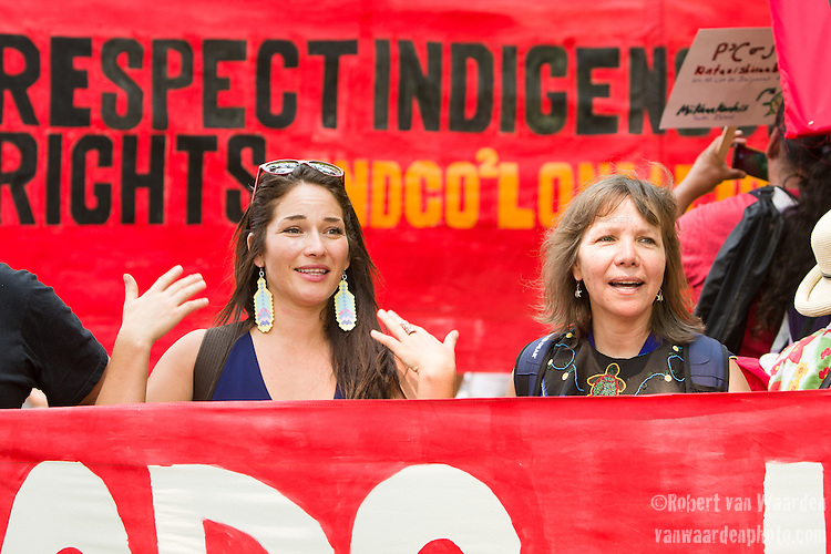 Nikki Sanchez (L) and Ellen Gabriel (R) during the march for Jobs, Justice and the Climate. <br /> <br /> On July 5th more than 10,000 people gathered in Toronto, the traditional territories of the Missisauga peoples, for the March for Jobs, Justice and the Climate. The march told the story of a new economy that works for people and the planet. People marched for an economy that starts with justice, creates good work, clean jobs and healthy communities. The people recognize that we have solutions and we know who is responsible for causing the climate crisis. (Photo: Robert van Waarden