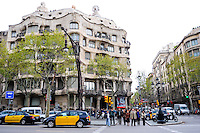 Spain, Barcelona. Casa Milà, also  known as La Pedrera, designed by Antoni Gaudí.