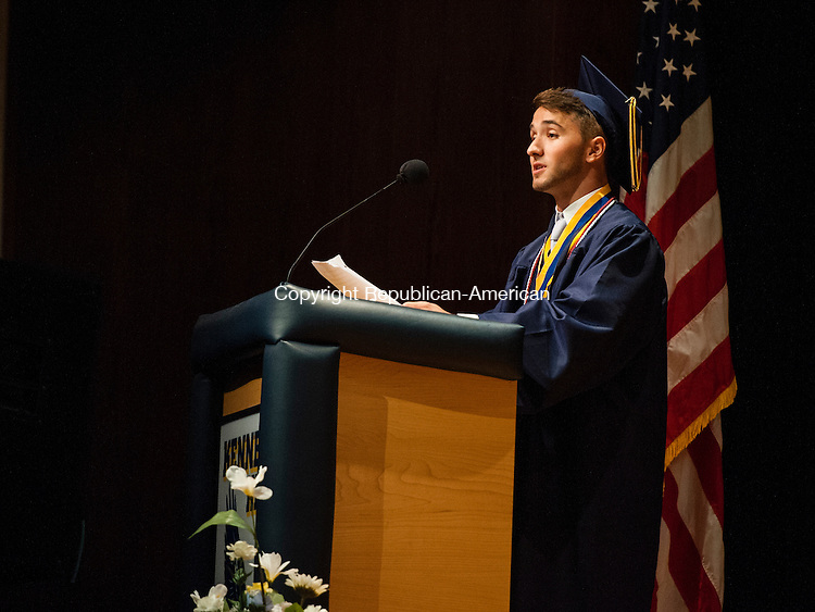 WATERBURY, CT-17 June 2014-061714EC19-  Valedictorian Sergei Ivani delivers his speech during Kennedy High School graduation Tuesday night. Erin Covey Republican-American