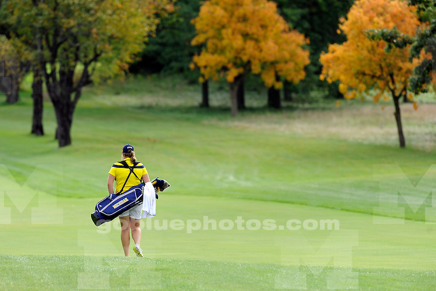 The University of Michigan women's golf team competing in the second day of the East-West Match Play Challenge at Radrick Farms Golf Club in Ann Arbor, Mich., on Sept. 21, 2014.