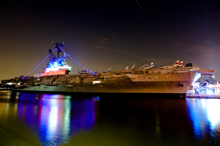 NEW YORK CITY, NY – JULY 9: The USS Intrepid (CV/CVA/CVS-11), one of 24 Essex-class aircraft carriers built during World War II for the United States Navy, on July 9, 2011 in Manhattan, New York City. As of 1982, it has been the foundation of the Intrepid Sea Air Space Museum in New York City.
