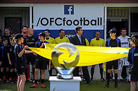 The two teams prepare to walk out for the Oceania Football Championship final (second leg) football match between Team Wellington and Auckland City FC at David Farrington Park in Wellington, New Zealand on Sunday, 7 May 2017. Photo: Dave Lintott / lintottphoto.co.nz