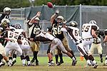 Palos Verdes, CA 11/04/11 - Peter Berwyn (Peninsula #63), Joey Augello (Peninsula #58), Adam Rahman (West Torrance #85)  in action during the West Torrance vs Peninsula varsity football game.