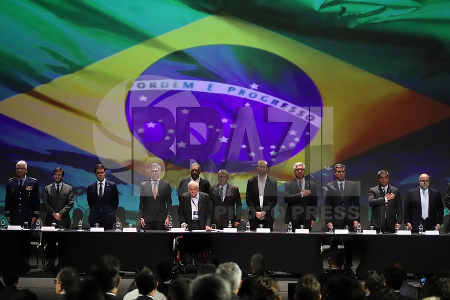 SÃO PAULO, SP, 05.11.2019 - POLITICA-SP - Ozires Silva, Presidente do Fórum Brasileiro do Transporte Aéreo, participa do Fórum Brasileiro de Transporte Aéreo, no WTC Events, em São Paulo, nesta terça-feira, 5. (Foto Charles Sholl/Brazil Photo Press)