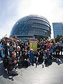 On World Press Freedom Day around 50 photographers gathered in a Flashmob outside City Hall, London, to protest against the behaviour of private security guards towards photographers. Organised by PhotographerNotATerrorist.org, a letter was delivered to London Mayor Boris Johnson to bring it to the public's attention.