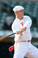 Todd Draper participates in an exhibition to show how base ball was played in the 19th century before an International League game between the Durham Bulls and Rochester Red Wings on May 17, 2013 at Frontier Field in Rochester, New York.  (Mike Janes/Four Seam Images)