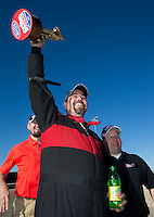 Mar 30, 2014; Las Vegas, NV, USA; NHRA top alcohol funny car driver Nicholas Januik celebrates after winning the Summitracing.com Nationals at The Strip at Las Vegas Motor Speedway. Mandatory Credit: Mark J. Rebilas-