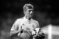 Toni Kroos of Real Madrid during La Liga match between Real Madrid and Cordoba at Santiago Bernabeu stadium in Madrid, Spain. August 25, 2014. (ALTERPHOTOS/Caro Marin)(EDITORS NOTE: This image has been converted to black and white)