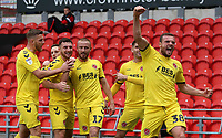 Fleetwood Town's James Wallace celebrates scoring his side's second goal<br /> <br /> Photographer David Shipman/CameraSport<br /> <br /> The EFL Sky Bet League One - Doncaster Rovers v Fleetwood Town - Saturday 6th October 2018 - Keepmoat Stadium - Doncaster<br /> <br /> World Copyright &copy; 2018 CameraSport. All rights reserved. 43 Linden Ave. Countesthorpe. Leicester. England. LE8 5PG - Tel: +44 (0) 116 277 4147 - admin@camerasport.com - www.camerasport.com
