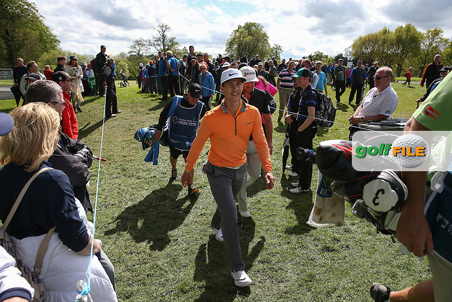 Thorbjorn Olesen (DEN) and Graeme McDowell (NIR) head to the 9th tee box during Round One of the 2016 Dubai Duty Free Irish Open Hosted by The Rory Foundation which is played at the K Club Golf Resort, Straffan, Co. Kildare, Ireland. 19/05/2016. Picture Golffile | David Lloyd.<br /> <br /> All photo usage must display a mandatory copyright credit as: &copy; Golffile | David Lloyd.