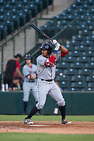 AZL Indians 2 center fielder Billy Wilson (28) at bat during an Arizona League game against the AZL Angels at Tempe Diablo Stadium on June 30, 2018 in Tempe, Arizona. The AZL Indians 2 defeated the AZL Angels by a score of 13-8. (Zachary Lucy/Four Seam Images)