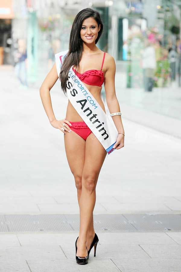 17/9/2010. Miss Ireland contestants. Miss Antrim Natasha Shafai is pictured at St Stephens Green. the 35 Miss Ireland contestants officially unveiled in their swimwear and sashes for the 1st time at Stephen's Green Shopping Centre,  Dublin. Picture James Horan/Collins Photos