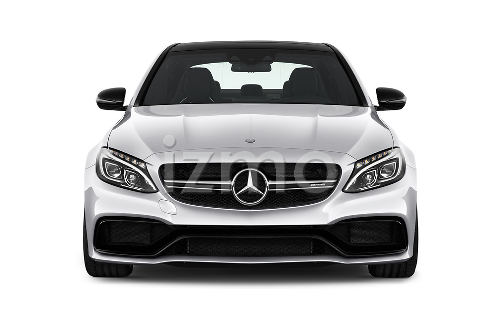 Car photography straight front view of a 2018 Mercedes Benz C-Class AMG-C63-S 4 Door Sedan Front View