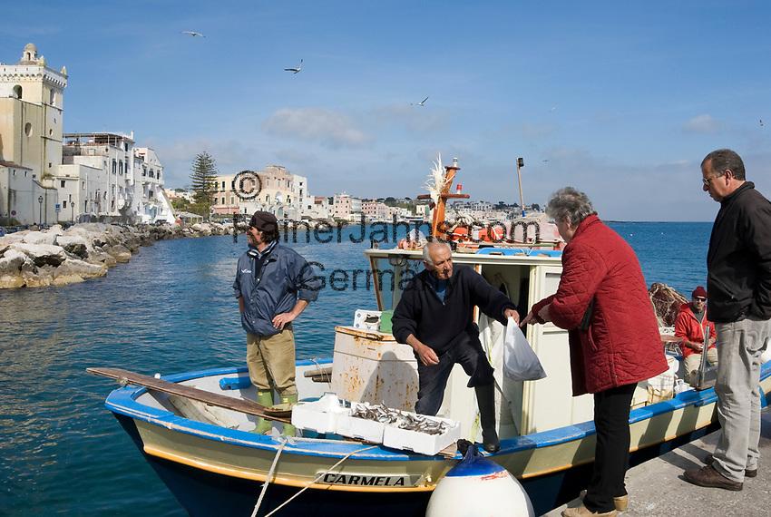 ITA, Italien, Kampanien, Ischia, vulkanische Insel im Golf von Neapel, Ischia Ponte: Fischverkauf direkt ab Boot | ITA, Italy, Campania, Ischia, volcanic island at the Gulf of Naples, Ischia Ponte: fishermen selling freshly caught fish