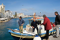 ITA, Italien, Kampanien, Ischia, vulkanische Insel im Golf von Neapel, Ischia Ponte: Fischverkauf direkt ab Boot | ITA, Italy, Campania, Ischia, volcanic island at the Gulf of Naples, Ischia Ponte: fishermen selling freshly caught fish