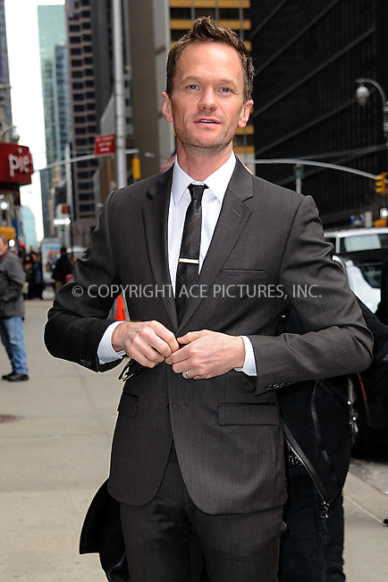 WWW.ACEPIXS.COM <br /> March 26, 2015 New York City<br /> <br /> Neil Patrick Harris arrives to tape an appearance on the Late Show with David Letterman on March 26, 2015 in New York City.<br /> <br /> Please byline: Kristin Callahan/ACE Pictures  <br /> <br /> ACEPIXS.COM<br /> Ace Pictures, Inc<br /> tel: (212) 243 8787 or (646) 769 0430<br /> e-mail: info@acepixs.com<br /> web: http://www.acepixs.com