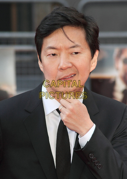 "Ken Jeong.The European Premiere of ""The Hangover Part 3"", Empire Leicester Square, London, England..22nd May 2013.headshot portrait black suit tie white shirt hand on chin  .CAP/ROS.©Steve Ross/Capital Pictures.."