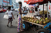 ACCRA, GHANA – APRIL 21: A model wears a creation by the Ghanaian/American designers Osei-Duro on April 21, 2015 in central Accra, Ghana.  (Photo by: Per-Anders Pettersson)