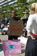 "October 6, 2011  (Washington, DC)  Juan Carlos Reyes expresses his views to a reporter on the first day of ""Occupy DC. Hundreds of people from around the country descended on Washington for the protest, which has spread from New York City's ""Occupy Wall Street""    (Photo by Don Baxter/Media Images International)"